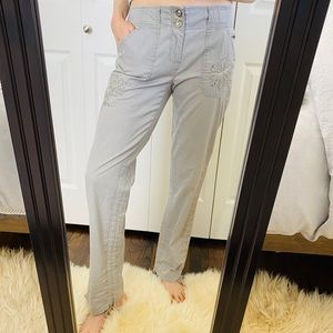 INC Dove Grey Embroidered Jewel Relaxed Pants | 4